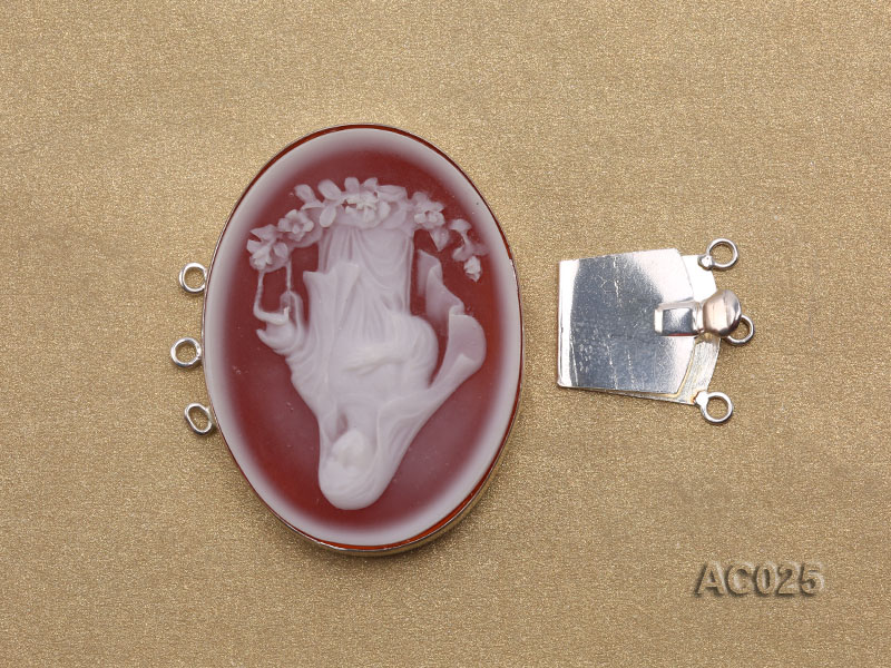 30x40mm Three-row Silver-Edged Red Resin Cameo Clasp big Image 3