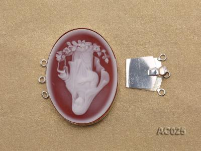 30x40mm Three-row Silver-Edged Red Resin Cameo Clasp AC025 Image 3