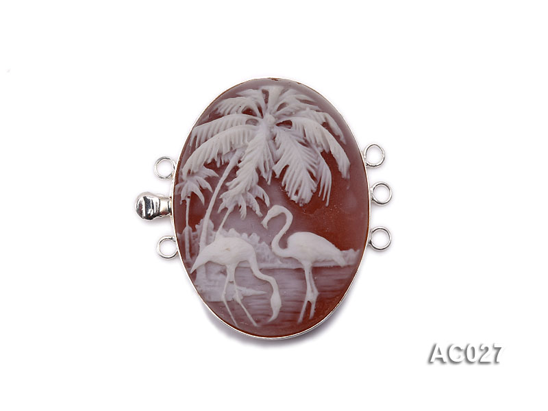 30x40mm Three-row Silver-Edged Red Resin Cameo Clasp big Image 1