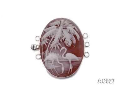 30x40mm Three-row Silver-Edged Red Resin Cameo Clasp AC027 Image 1