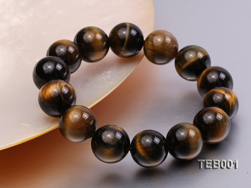 14mm Round Natural Tiger Eye Beads Elasticated Bracelet big Image 3