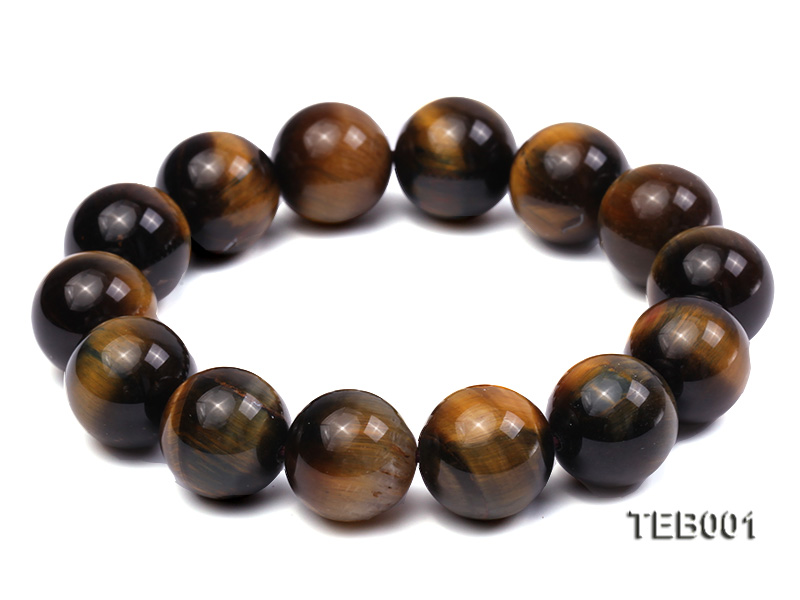 14mm Round Natural Tiger Eye Beads Elasticated Bracelet big Image 1