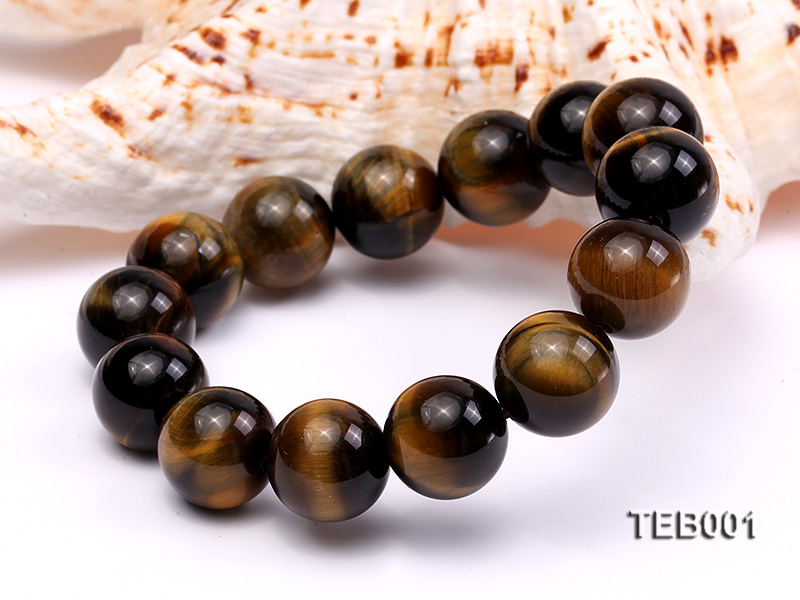 14mm Round Natural Tiger Eye Beads Elasticated Bracelet big Image 2