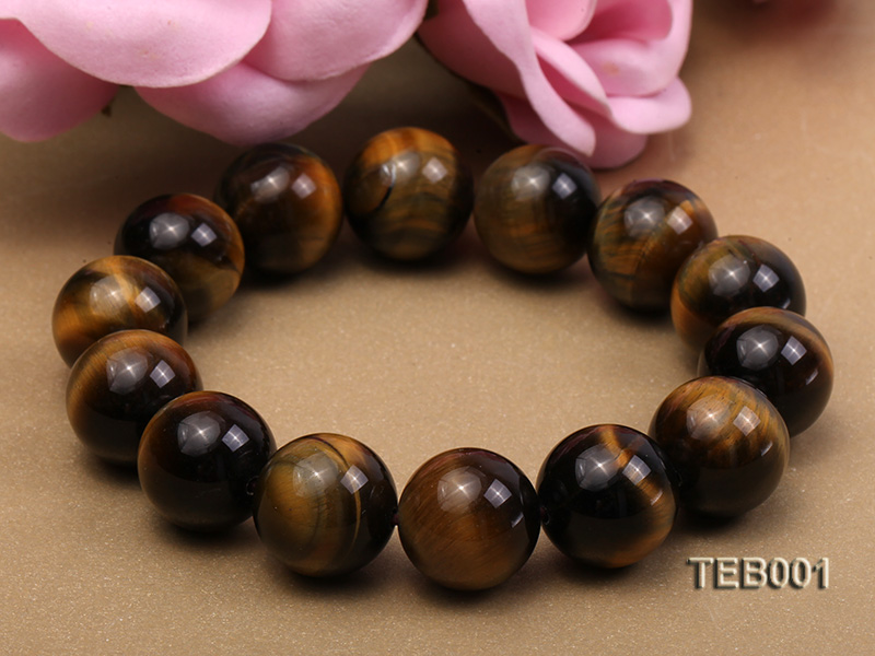 14mm Round Natural Tiger Eye Beads Elasticated Bracelet big Image 4