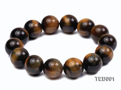 14mm Round Natural Tiger Eye Beads Elasticated Bracelet TEB001 Image 1
