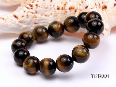 14mm Round Natural Tiger Eye Beads Elasticated Bracelet TEB001 Image 2