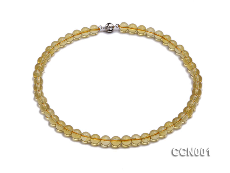 8mm Round Citrine Beads Necklace big Image 1