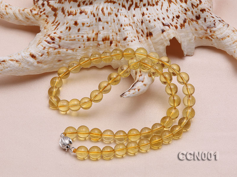 8mm Round Citrine Beads Necklace big Image 2