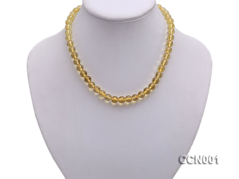 8mm Round Citrine Beads Necklace big Image 5