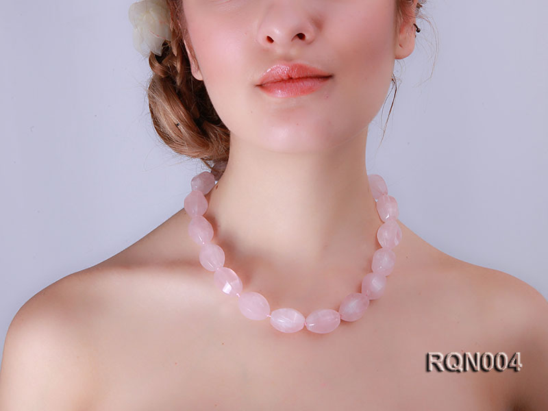 15x22mm Irregular Rose Quartz Beads Necklace big Image 5