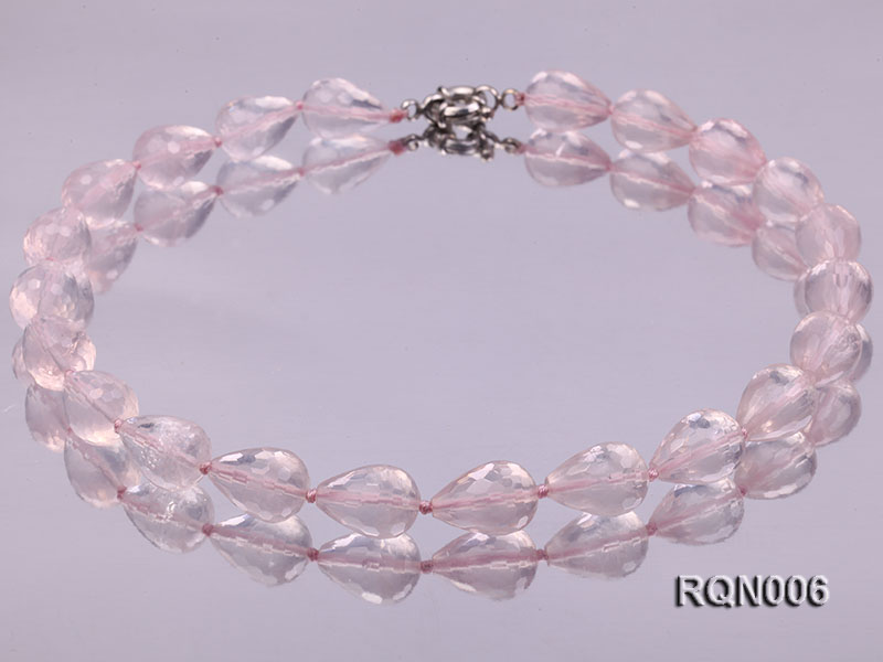 13x18mm Drop-shaped Faceted Rose Quartz Beads Necklace big Image 1