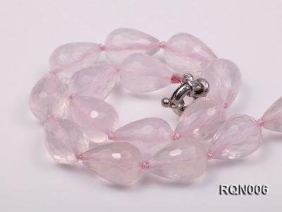 13x18mm Drop-shaped Faceted Rose Quartz Beads Necklace RQN006 Image 2
