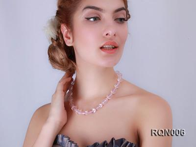 13x18mm Drop-shaped Faceted Rose Quartz Beads Necklace RQN006 Image 4