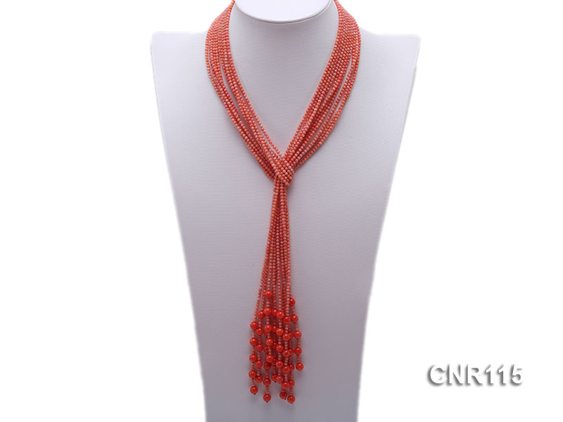 2-3mm Round Pink Coral Five-Strand Necklace big Image 1