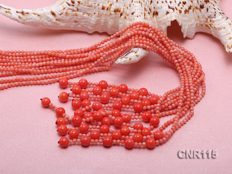 2-3mm Round Pink Coral Five-Strand Necklace big Image 5