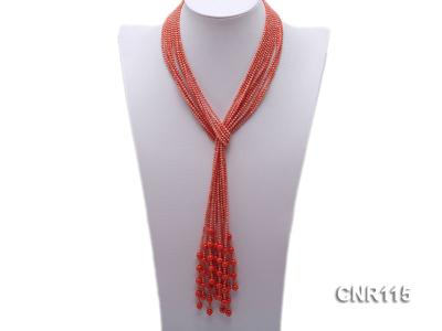 2-3mm Round Pink Coral Five-Strand Necklace CNR115 Image 1