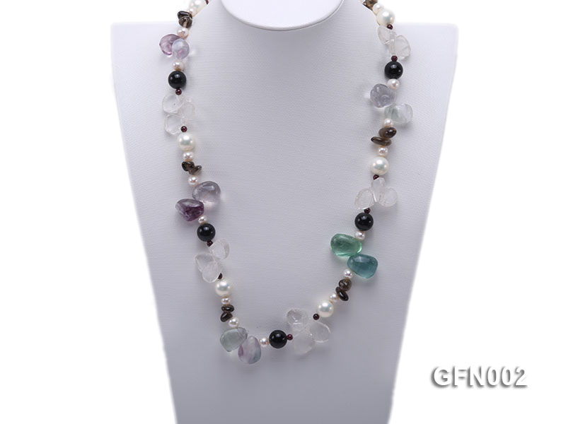 8-9mm Fluorite Crystal and White Freshwater Pearl Necklace big Image 2
