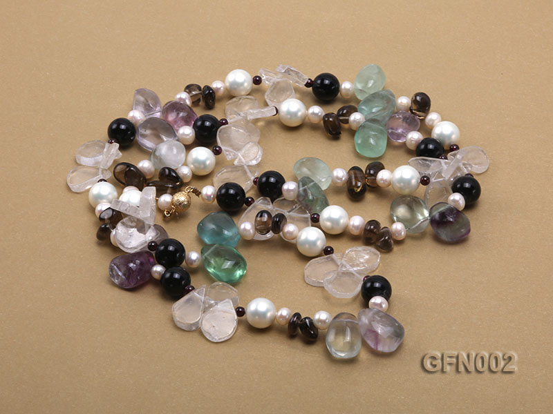 8-9mm Fluorite Crystal and White Freshwater Pearl Necklace big Image 3