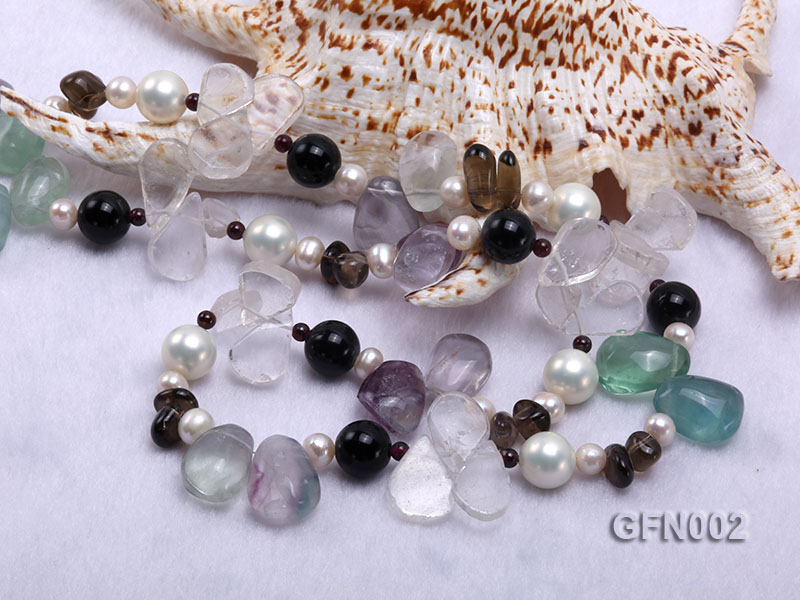 8-9mm Fluorite Crystal and White Freshwater Pearl Necklace big Image 5