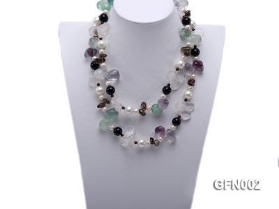 8-9mm Fluorite Crystal and White Freshwater Pearl Necklace GFN002 Image 1