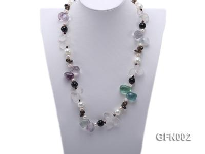8-9mm Fluorite Crystal and White Freshwater Pearl Necklace GFN002 Image 2