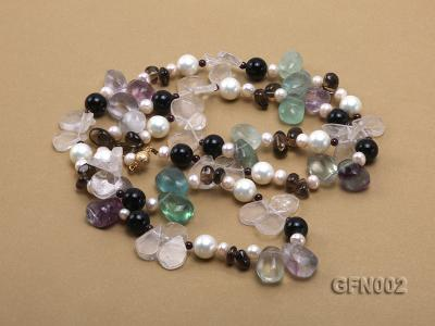8-9mm Fluorite Crystal and White Freshwater Pearl Necklace GFN002 Image 3