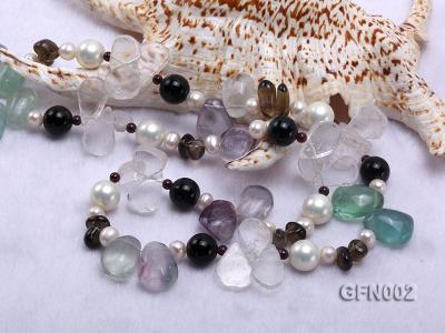 8-9mm Fluorite Crystal and White Freshwater Pearl Necklace GFN002 Image 5