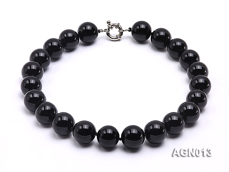 18mm black round agate necklace big Image 1