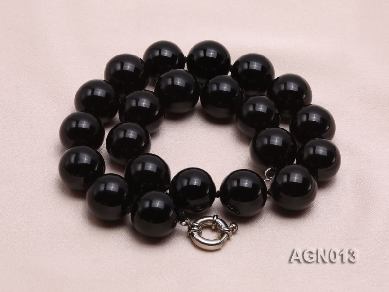 18mm black round agate necklace big Image 2