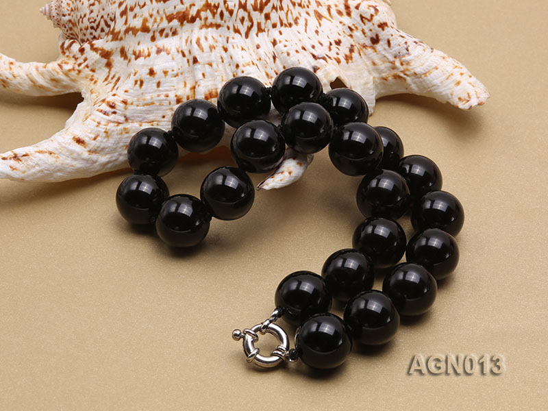 18mm black round agate necklace big Image 4