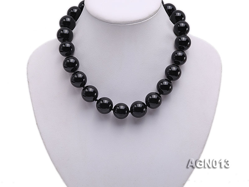 18mm black round agate necklace big Image 5