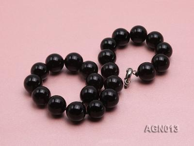 18mm black round agate necklace AGN013 Image 3