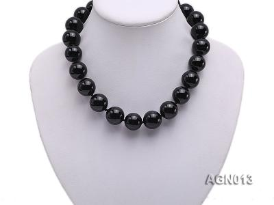 18mm black round agate necklace AGN013 Image 5