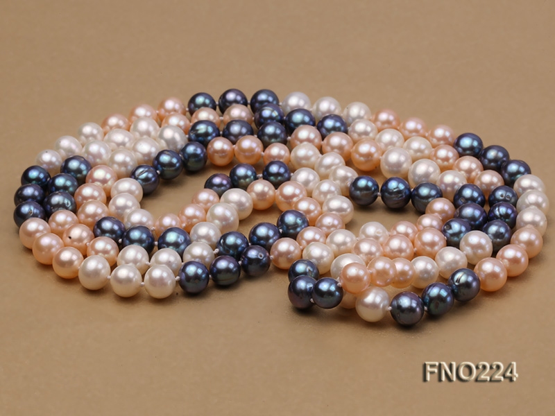 8-9mm multicolor round freshwater pearl necklace big Image 3