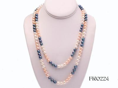 8-9mm multicolor round freshwater pearl necklace FNO224 Image 1