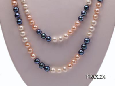 8-9mm multicolor round freshwater pearl necklace FNO224 Image 2