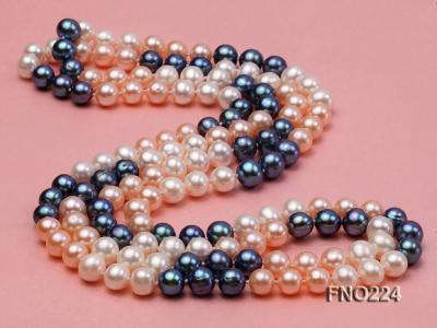8-9mm multicolor round freshwater pearl necklace FNO224 Image 4