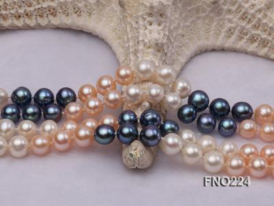 8-9mm multicolor round freshwater pearl necklace FNO224 Image 5