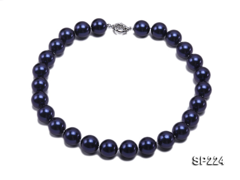 16mm round dark blue seashell pearl necklace  big Image 1