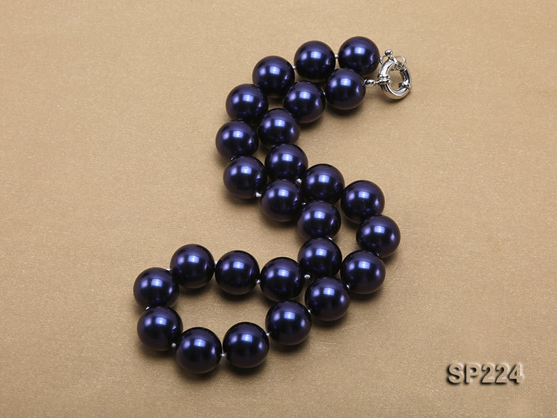 16mm round dark blue seashell pearl necklace  big Image 2
