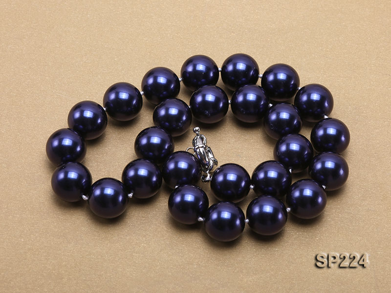 16mm round dark blue seashell pearl necklace  big Image 3