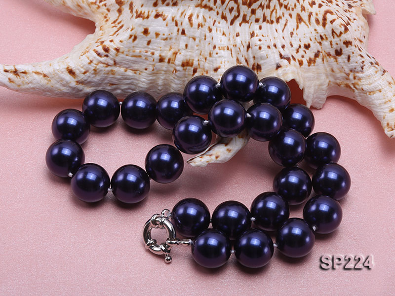 16mm round dark blue seashell pearl necklace  big Image 4