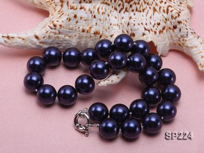 16mm round dark blue seashell pearl necklace  SP224 Image 4