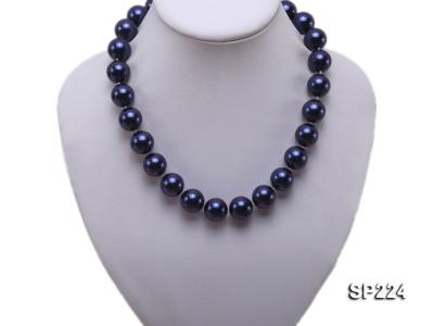 16mm round dark blue seashell pearl necklace  SP224 Image 5