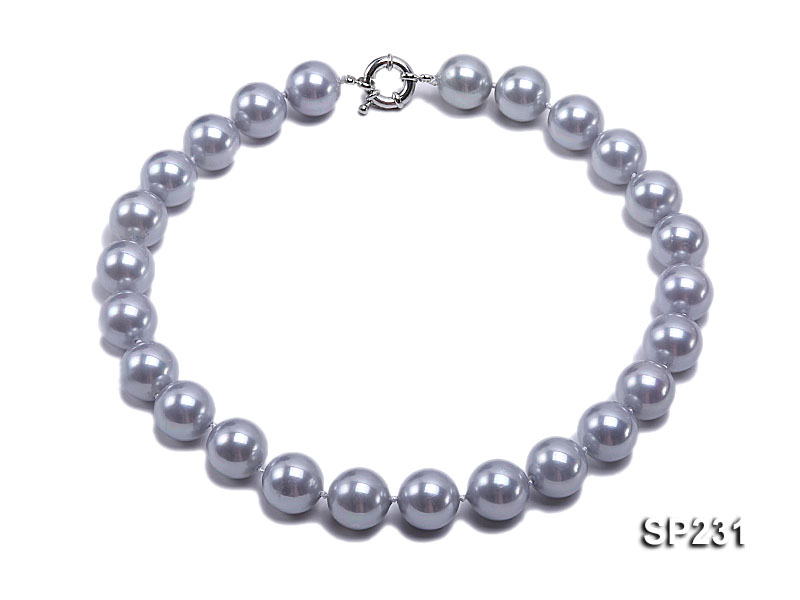 16mm lustrous grey round seashell pearl necklace big Image 1