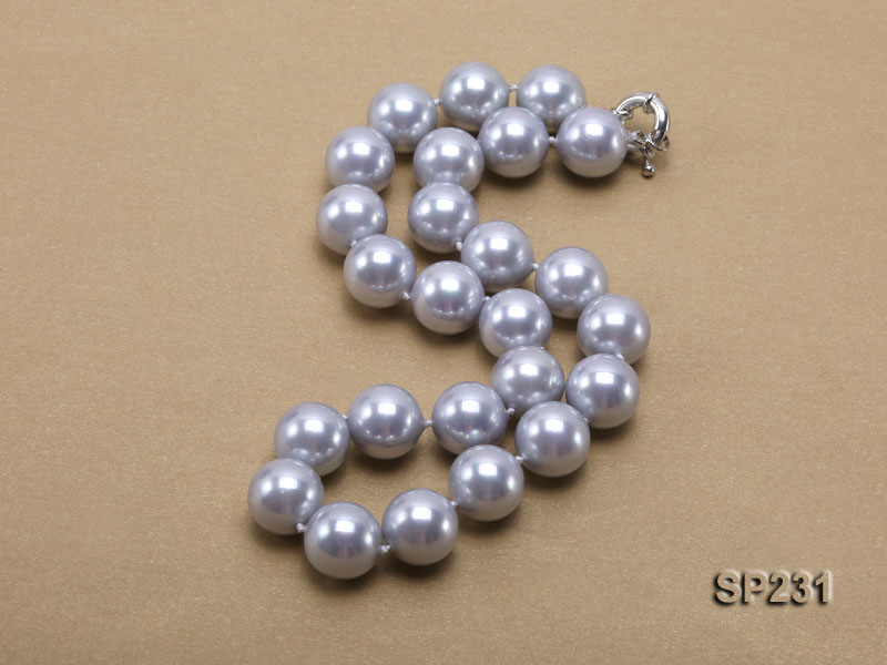 16mm lustrous grey round seashell pearl necklace big Image 2