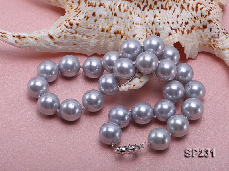 16mm lustrous grey round seashell pearl necklace big Image 4