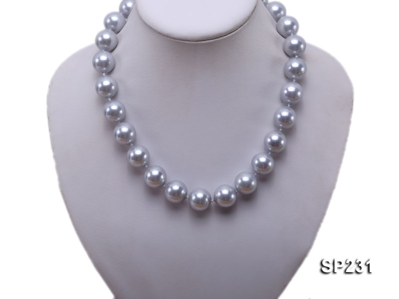 16mm lustrous grey round seashell pearl necklace big Image 5