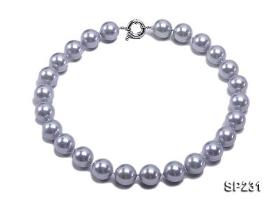 16mm lustrous grey round seashell pearl necklace SP231 Image 1