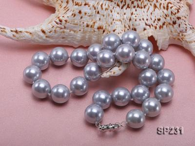 16mm lustrous grey round seashell pearl necklace SP231 Image 4